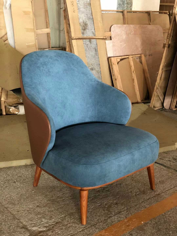 现代极简实木家具_单人沙发